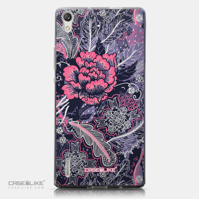CASEiLIKE Huawei Ascend P7 back cover Vintage Roses and Feathers Blue 2252