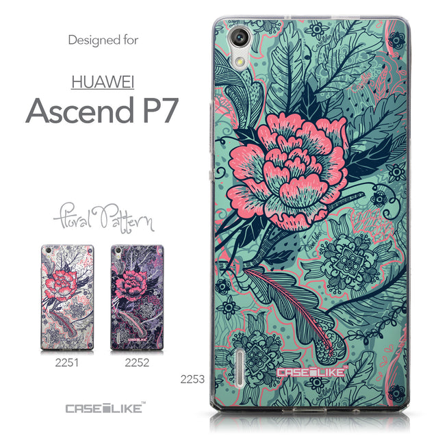 Collection - CASEiLIKE Huawei Ascend P7 back cover Vintage Roses and Feathers Turquoise 2253
