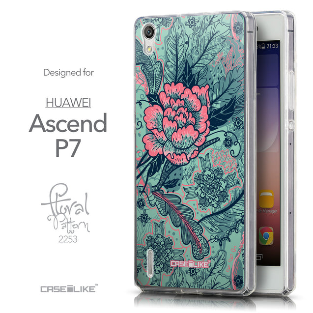 Front & Side View - CASEiLIKE Huawei Ascend P7 back cover Vintage Roses and Feathers Turquoise 2253