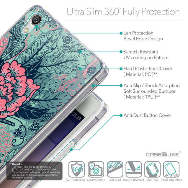 Details in English - CASEiLIKE Huawei Ascend P7 back cover Vintage Roses and Feathers Turquoise 2253