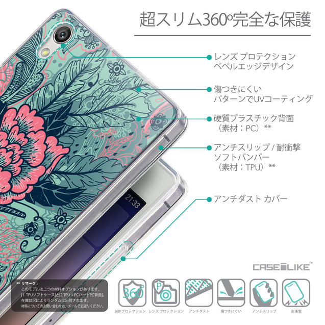 Details in Japanese - CASEiLIKE Huawei Ascend P7 back cover Vintage Roses and Feathers Turquoise 2253