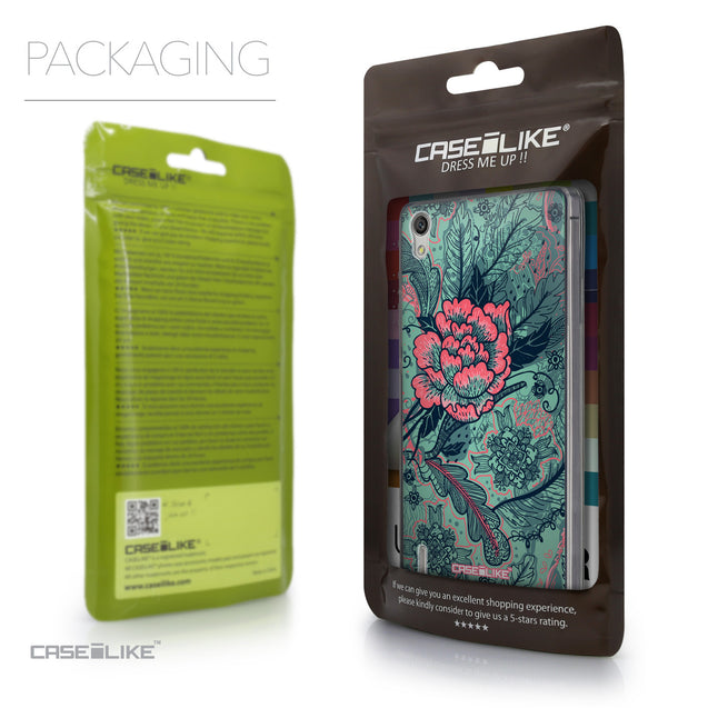 Packaging - CASEiLIKE Huawei Ascend P7 back cover Vintage Roses and Feathers Turquoise 2253