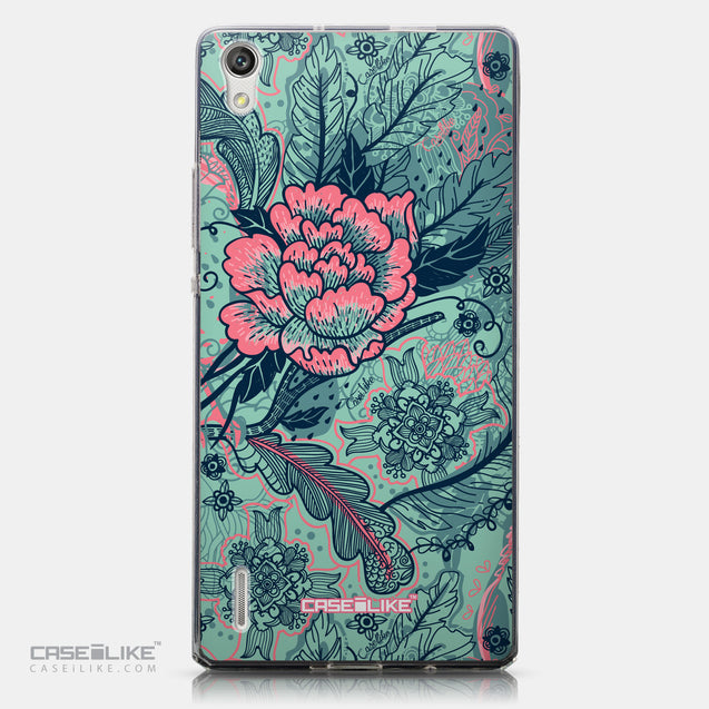 CASEiLIKE Huawei Ascend P7 back cover Vintage Roses and Feathers Turquoise 2253