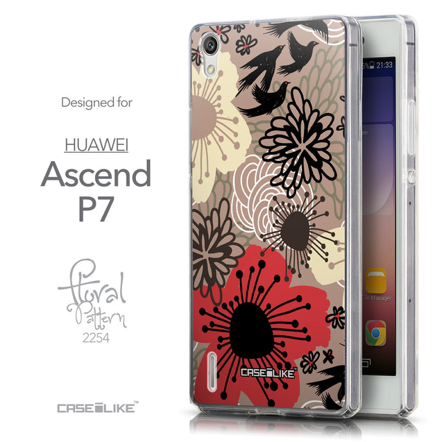 Front & Side View - CASEiLIKE Huawei Ascend P7 back cover Japanese Floral 2254