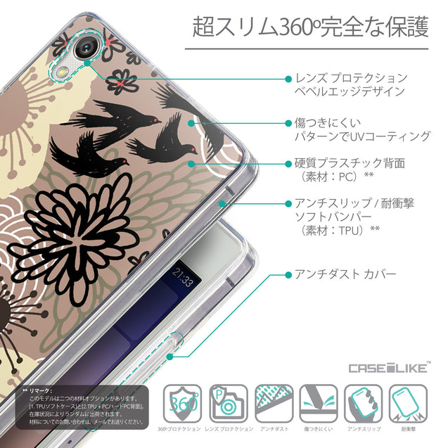 Details in Japanese - CASEiLIKE Huawei Ascend P7 back cover Japanese Floral 2254
