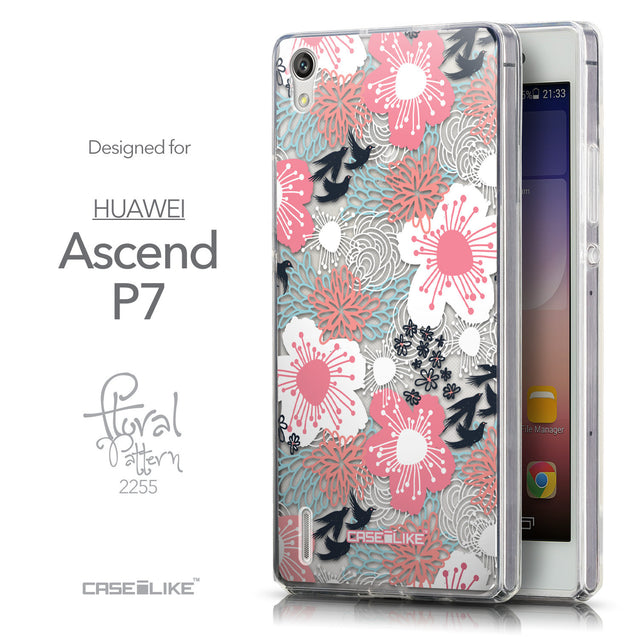 Front & Side View - CASEiLIKE Huawei Ascend P7 back cover Japanese Floral 2255