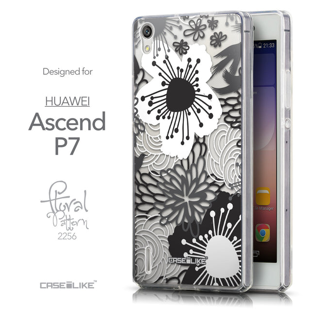 Front & Side View - CASEiLIKE Huawei Ascend P7 back cover Japanese Floral 2256
