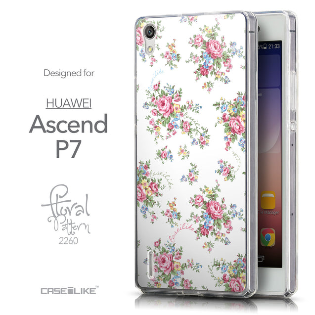 Front & Side View - CASEiLIKE Huawei Ascend P7 back cover Floral Rose Classic 2260