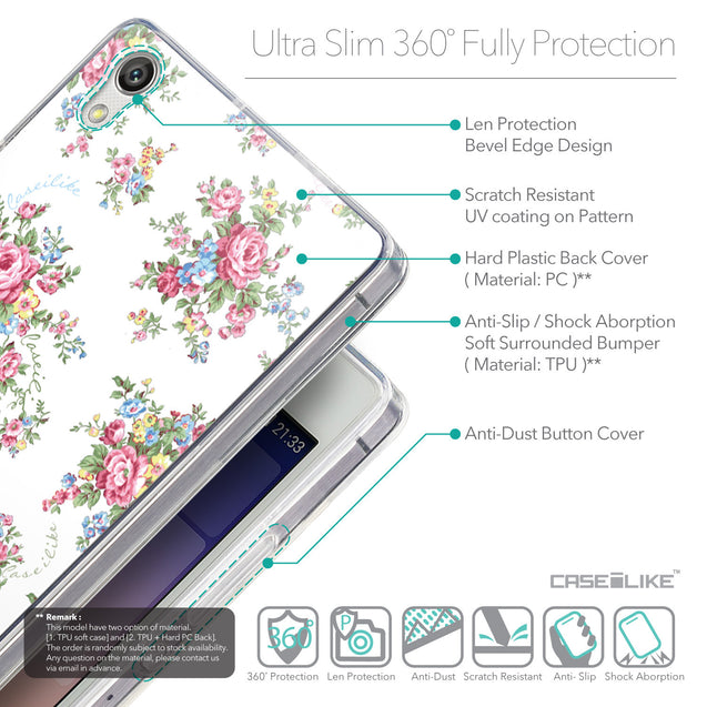 Details in English - CASEiLIKE Huawei Ascend P7 back cover Floral Rose Classic 2260