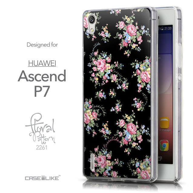 Front & Side View - CASEiLIKE Huawei Ascend P7 back cover Floral Rose Classic 2261