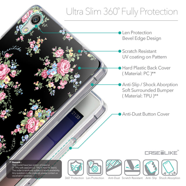 Details in English - CASEiLIKE Huawei Ascend P7 back cover Floral Rose Classic 2261