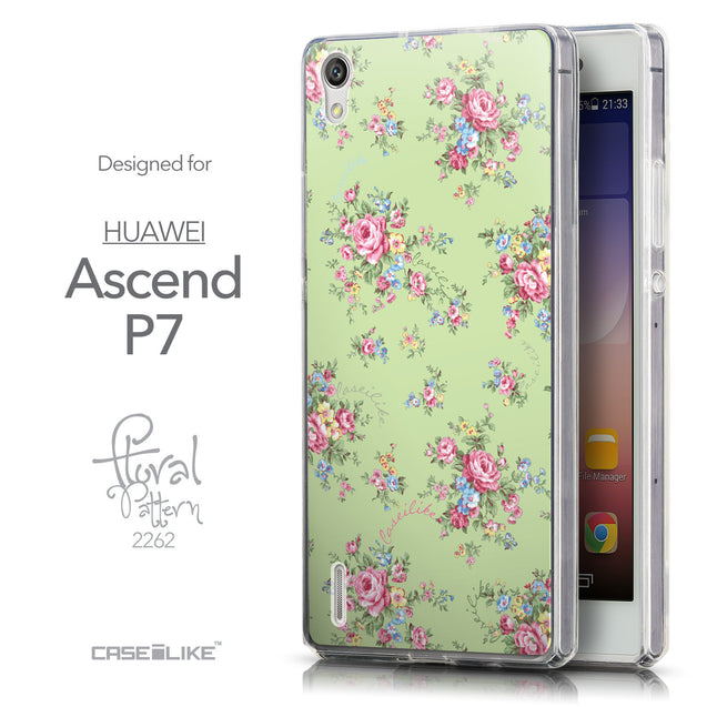Front & Side View - CASEiLIKE Huawei Ascend P7 back cover Floral Rose Classic 2262
