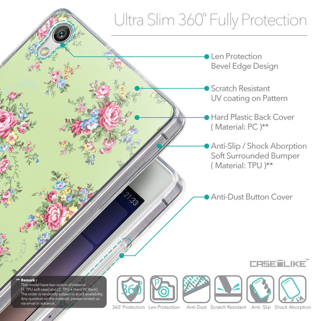 Details in English - CASEiLIKE Huawei Ascend P7 back cover Floral Rose Classic 2262