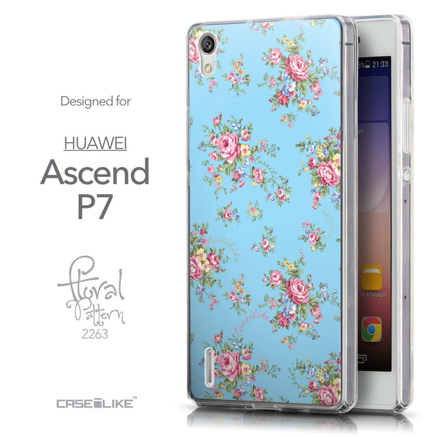 Front & Side View - CASEiLIKE Huawei Ascend P7 back cover Floral Rose Classic 2263