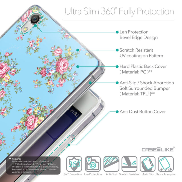 Details in English - CASEiLIKE Huawei Ascend P7 back cover Floral Rose Classic 2263