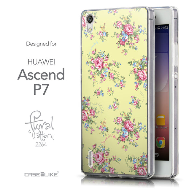 Front & Side View - CASEiLIKE Huawei Ascend P7 back cover Floral Rose Classic 2264