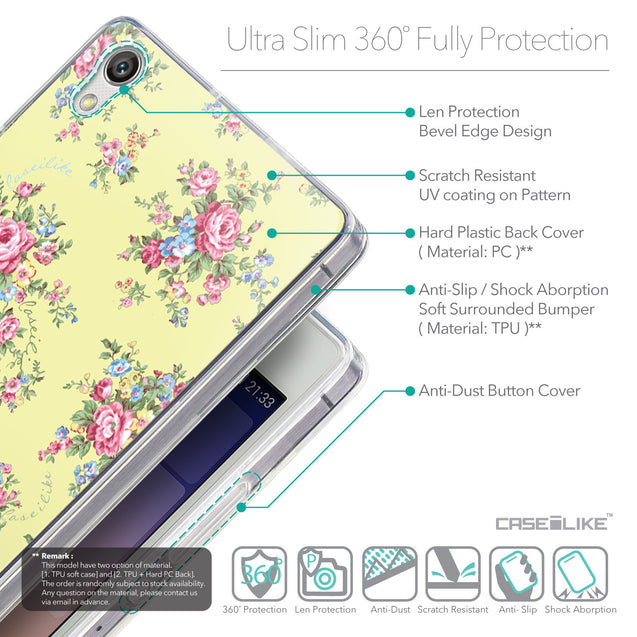 Details in English - CASEiLIKE Huawei Ascend P7 back cover Floral Rose Classic 2264