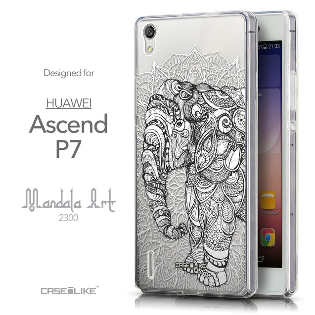 Front & Side View - CASEiLIKE Huawei Ascend P7 back cover Mandala Art 2300