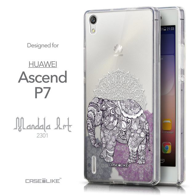 Front & Side View - CASEiLIKE Huawei Ascend P7 back cover Mandala Art 2301
