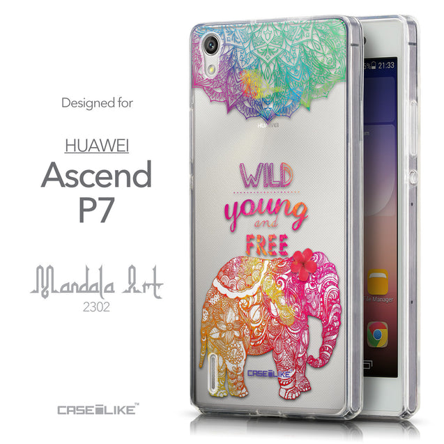 Front & Side View - CASEiLIKE Huawei Ascend P7 back cover Mandala Art 2302