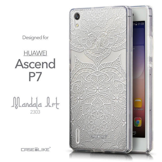Front & Side View - CASEiLIKE Huawei Ascend P7 back cover Mandala Art 2303