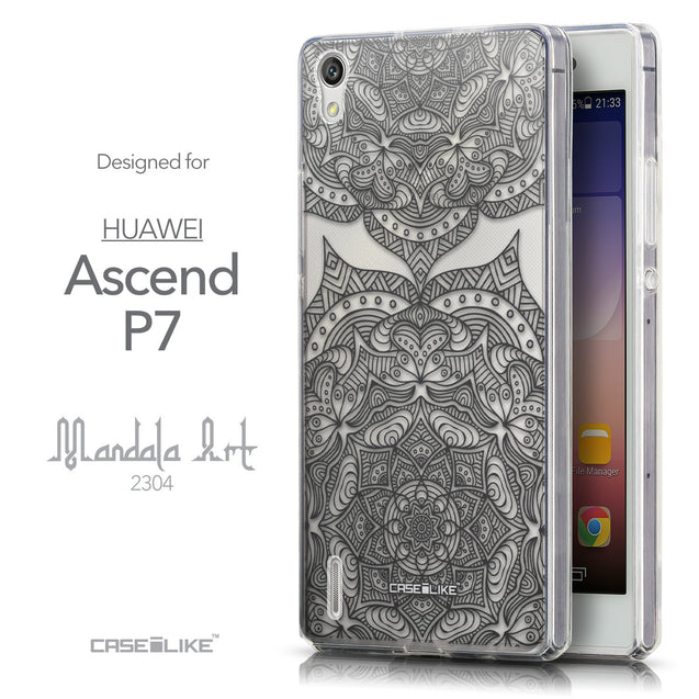 Front & Side View - CASEiLIKE Huawei Ascend P7 back cover Mandala Art 2304
