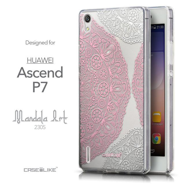 Front & Side View - CASEiLIKE Huawei Ascend P7 back cover Mandala Art 2305