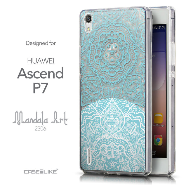 Front & Side View - CASEiLIKE Huawei Ascend P7 back cover Mandala Art 2306