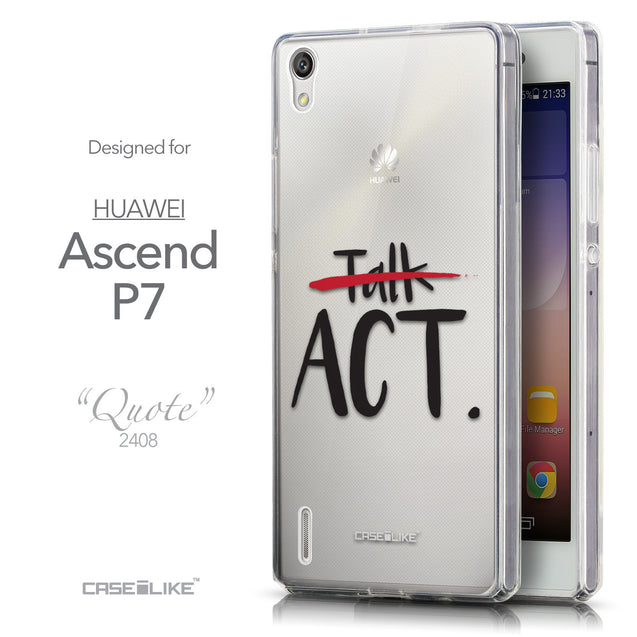 Front & Side View - CASEiLIKE Huawei Ascend P7 back cover Quote 2408
