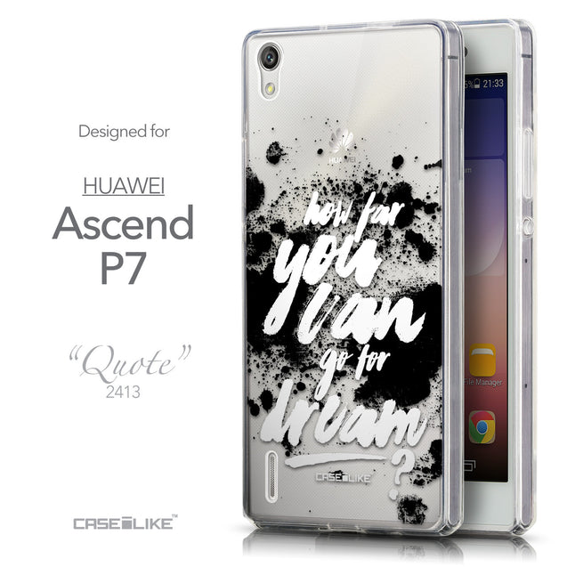 Front & Side View - CASEiLIKE Huawei Ascend P7 back cover Quote 2413
