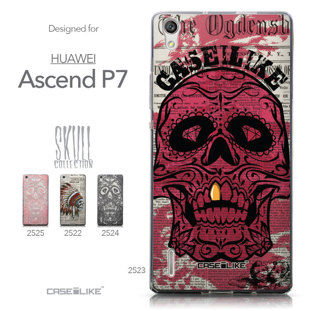 Collection - CASEiLIKE Huawei Ascend P7 back cover Art of Skull 2523