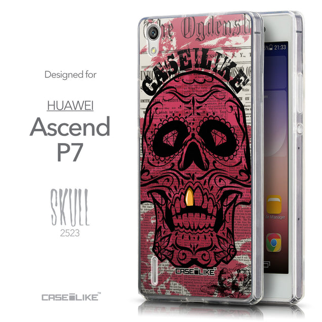 Front & Side View - CASEiLIKE Huawei Ascend P7 back cover Art of Skull 2523