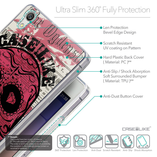 Details in English - CASEiLIKE Huawei Ascend P7 back cover Art of Skull 2523