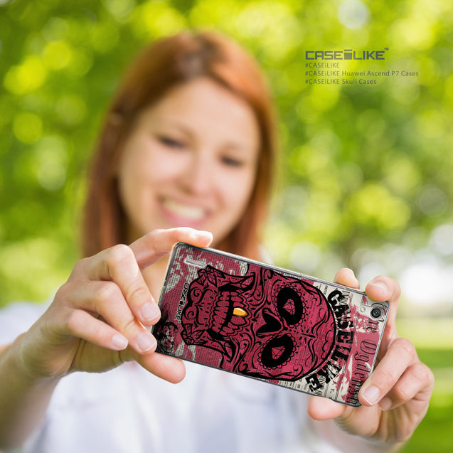 Share - CASEiLIKE Huawei Ascend P7 back cover Art of Skull 2523