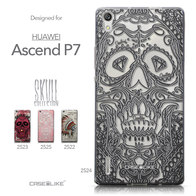 Collection - CASEiLIKE Huawei Ascend P7 back cover Art of Skull 2524