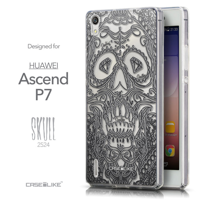 Front & Side View - CASEiLIKE Huawei Ascend P7 back cover Art of Skull 2524
