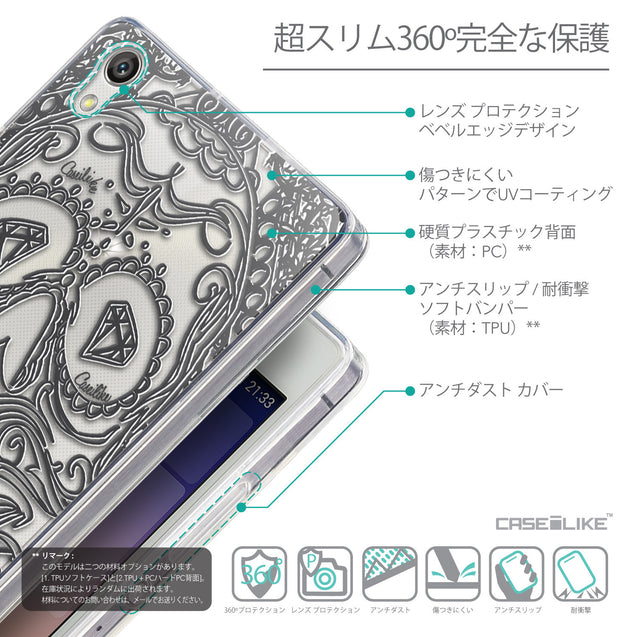 Details in Japanese - CASEiLIKE Huawei Ascend P7 back cover Art of Skull 2524