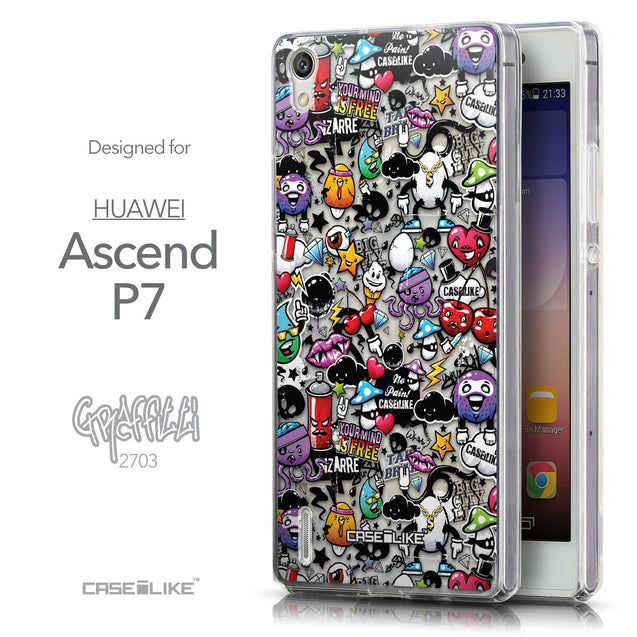 Front & Side View - CASEiLIKE Huawei Ascend P7 back cover Graffiti 2703