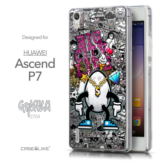 Front & Side View - CASEiLIKE Huawei Ascend P7 back cover Graffiti 2704