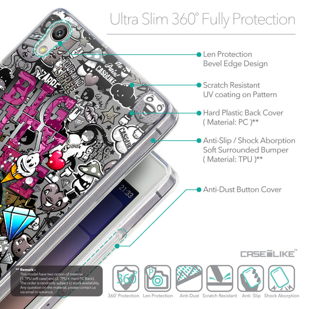 Details in English - CASEiLIKE Huawei Ascend P7 back cover Graffiti 2704