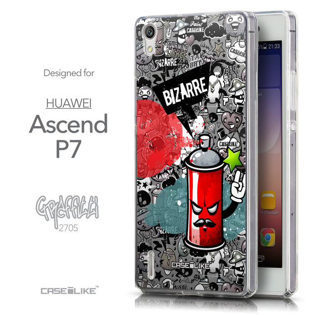 Front & Side View - CASEiLIKE Huawei Ascend P7 back cover Graffiti 2705