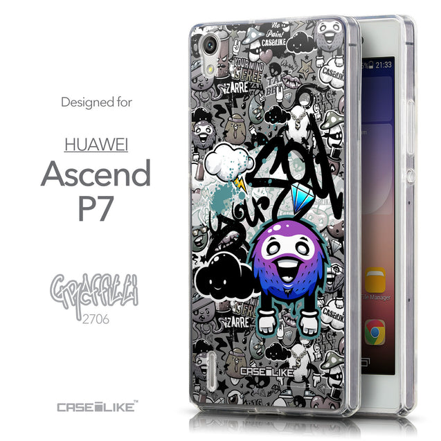 Front & Side View - CASEiLIKE Huawei Ascend P7 back cover Graffiti 2706