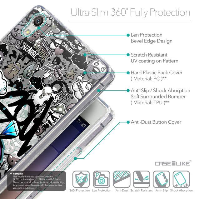 Details in English - CASEiLIKE Huawei Ascend P7 back cover Graffiti 2706