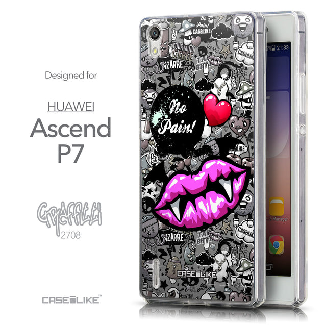 Front & Side View - CASEiLIKE Huawei Ascend P7 back cover Graffiti 2708