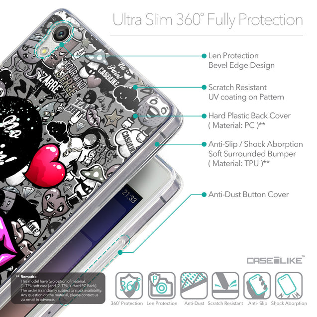 Details in English - CASEiLIKE Huawei Ascend P7 back cover Graffiti 2708