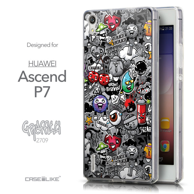 Front & Side View - CASEiLIKE Huawei Ascend P7 back cover Graffiti 2709