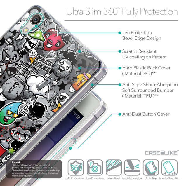 Details in English - CASEiLIKE Huawei Ascend P7 back cover Graffiti 2709