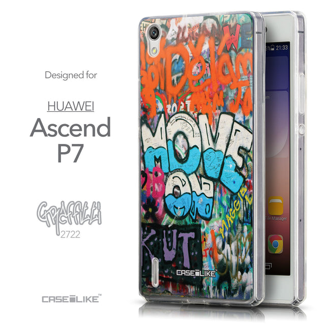 Front & Side View - CASEiLIKE Huawei Ascend P7 back cover Graffiti 2722