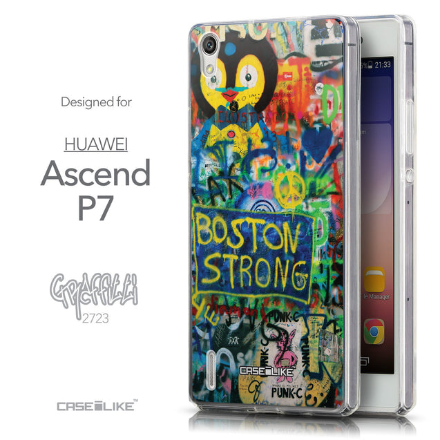 Front & Side View - CASEiLIKE Huawei Ascend P7 back cover Graffiti 2723