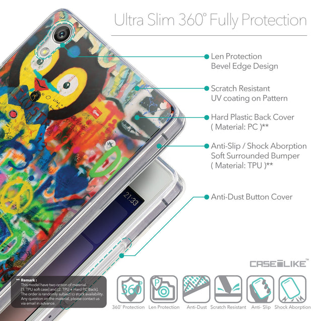 Details in English - CASEiLIKE Huawei Ascend P7 back cover Graffiti 2723
